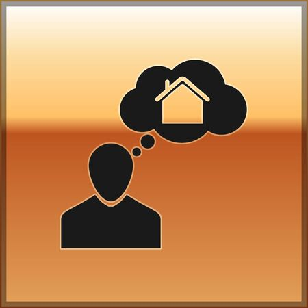 Black Man dreaming about buying a new house icon isolated on gold background. Vector Illustration