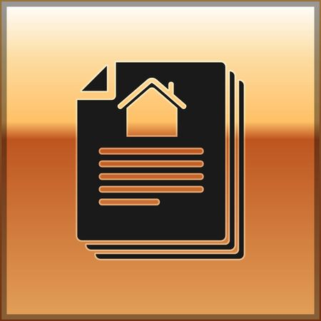 Black House contract icon isolated on gold background. Contract creation service, document formation, application form composition. Vector Illustration