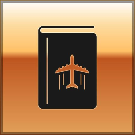 Black Cover book travel guide icon isolated on gold background. Vector Illustration
