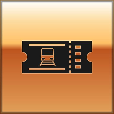Black Train ticket icon isolated on gold background. Travel by railway. Vector Illustration Фото со стока - 130164695