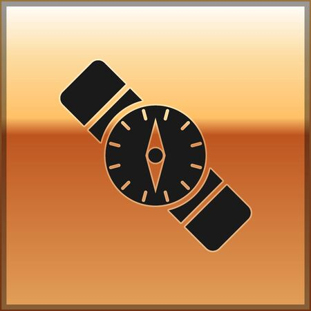 Black Compass icon isolated on gold background. Windrose navigation symbol. Wind rose sign. Vector Illustration 向量圖像
