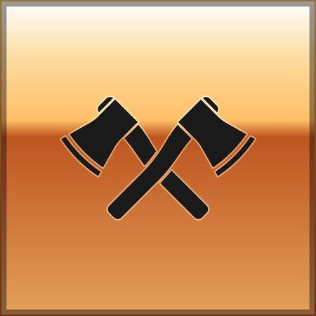 Black Crossed wooden axe icon isolated on gold background. Lumberjack axe. Vector Illustration Illustration