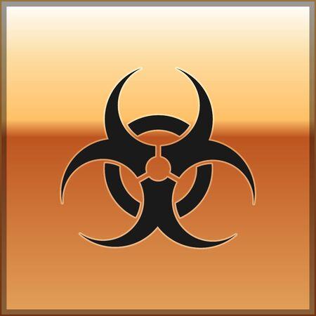 Black Biohazard symbol icon isolated on gold background. Vector Illustration