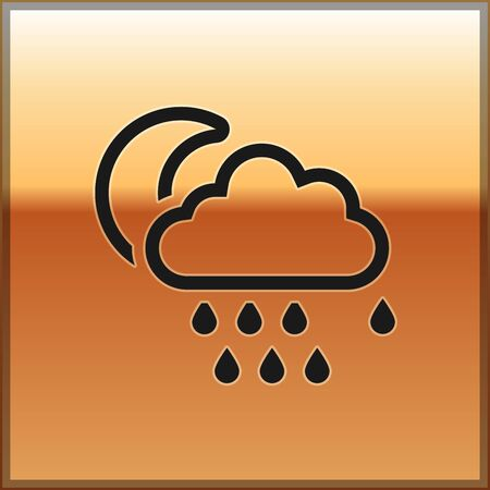 Black Cloud with rain and moon icon isolated on gold background. Rain cloud precipitation with rain drops. Vector Illustration