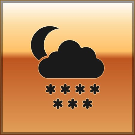 Black Cloud with snow and moon icon isolated on gold background. Cloud with snowflakes. Single weather icon. Snowing sign. Vector Illustration