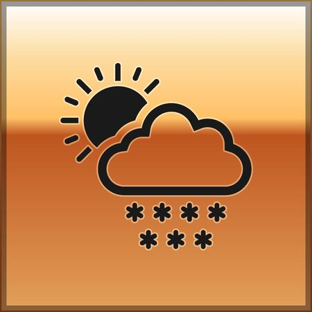 Black Cloud with snow and sun icon isolated on gold background. Cloud with snowflakes. Single weather icon. Snowing sign. Vector Illustration