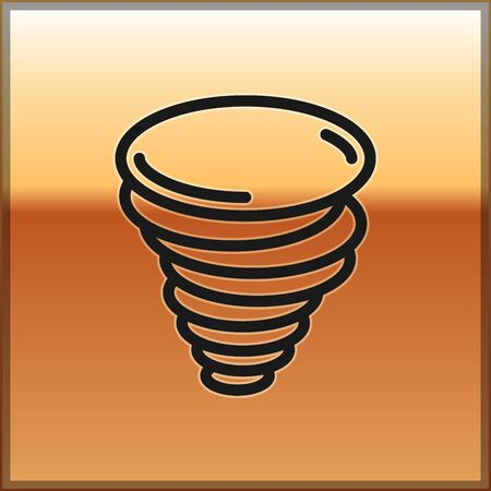 Black Tornado icon isolated on gold background. Cyclone, whirlwind, storm funnel, hurricane wind or twister weather icon. Vector Illustration