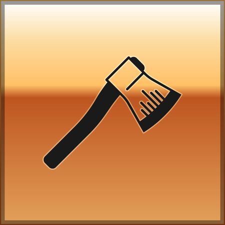 Black Wooden axe icon isolated on gold background. Lumberjack axe. Vector Illustration