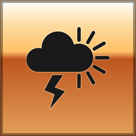 Black Storm icon isolated on gold background. Cloudy with lightning and sun sign. Weather icon of storm. Vector Illustration