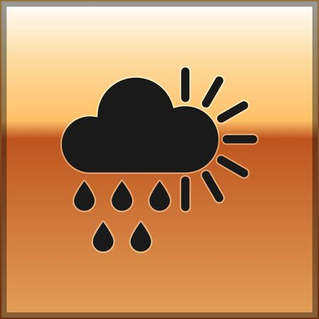 Black Cloudy with rain and sun icon isolated on gold background. Rain cloud precipitation with rain drops. Vector Illustration
