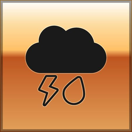 Black Cloud with rain and lightning icon isolated on gold background. Rain cloud precipitation with rain drops.Weather icon of storm. Vector Illustration Illustration