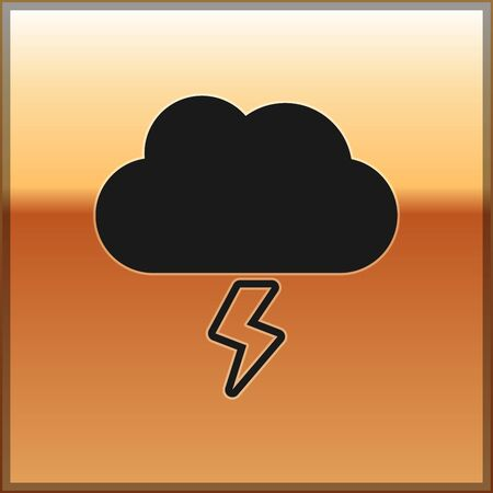 Black Storm icon isolated on gold background. Cloud and lightning sign. Weather icon of storm. Vector Illustration Illustration