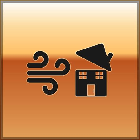 Black Tornado swirl damages house roof icon isolated on gold background. Cyclone, whirlwind, storm funnel, hurricane wind icon. Vector Illustration