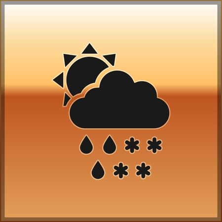 Black Cloud with snow and rain icon isolated on gold background. Weather icon. Vector Illustration Vetores