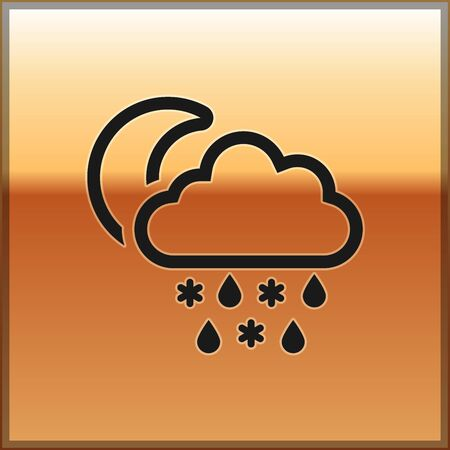 Black Cloud with snow and rain icon isolated on gold background. Weather icon. Vector Illustration