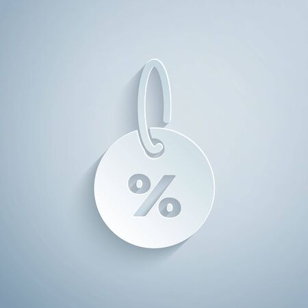Paper cut Discount percent tag icon isolated on grey background. Shopping tag sign. Special offer sign. Discount coupons symbol. Paper art style. Vector Illustration