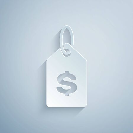 Paper cut Price tag with dollar icon isolated on grey background. Badge for price. Sale with dollar symbol. Promo tag discount. Paper art style. Vector Illustration