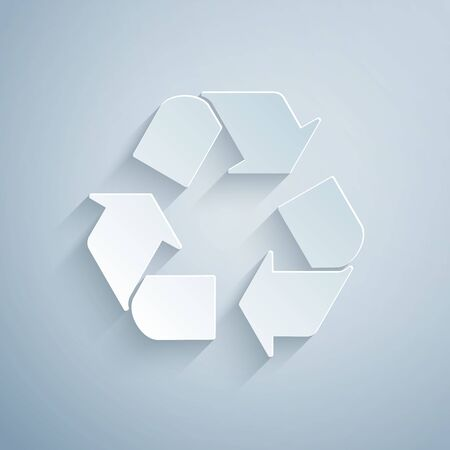 Paper cut Recycle symbol icon isolated on grey background. Circular arrow icon. Environment recyclable go green. Paper art style. Vector Illustration