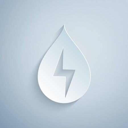 Paper cut Water energy icon isolated on grey background. Ecology concept with water droplet. Alternative energy concept. Paper art style. Vector Illustration