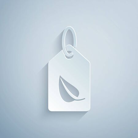 Paper cut Tag with leaf symbol icon isolated on grey background. Banner, label, tag, logo, sticker for eco green. Paper art style. Vector Illustration