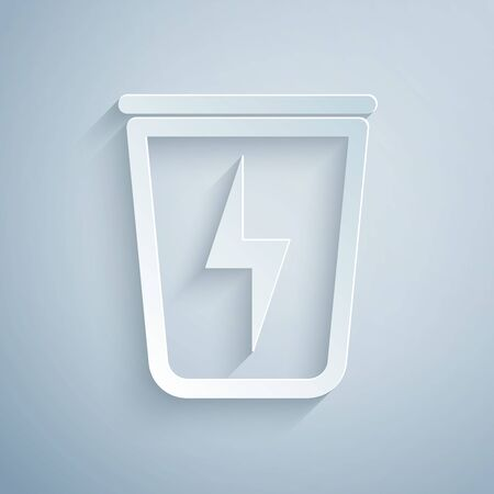 Paper cut Lightning with trash can icon isolated on grey background. Waste to energy. Garbage bin sign. Recycle basket sign. Paper art style. Vector Illustration