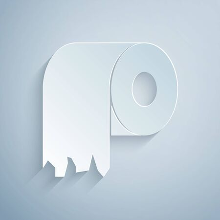 Paper cut Toilet paper roll icon isolated on grey background. Paper art style. Vector Illustration Vettoriali