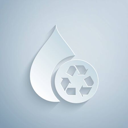 Paper cut Recycle clean aqua icon isolated on grey background. Drop of water with sign recycling. Paper art style. Vector Illustration