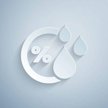 Scherenschnitt Feuchtigkeitssymbol auf grauem Hintergrund isoliert. Wetter und Meteorologie, Thermometersymbol. Stil der Papierkunst. Vektorillustration Vektorgrafik