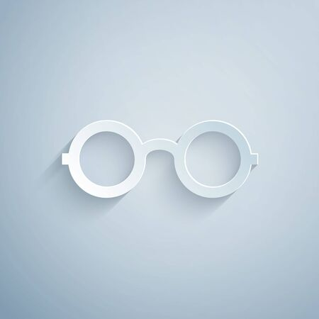 Paper cut Glasses icon isolated on grey background. Eyeglass frame symbol. Paper art style. Vector Illustration