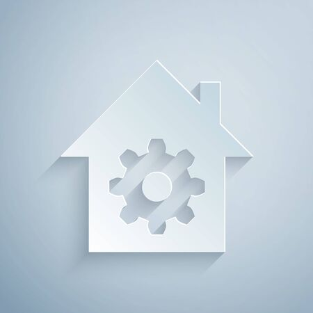 Paper cut Smart home settings icon isolated on grey background. Remote control. Paper art style. Vector Illustration