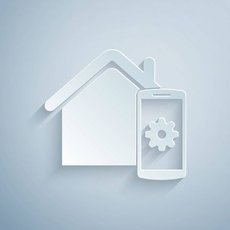 Paper cut Smart home - remote control system icon isolated on grey background. Paper art style. Vector Illustration