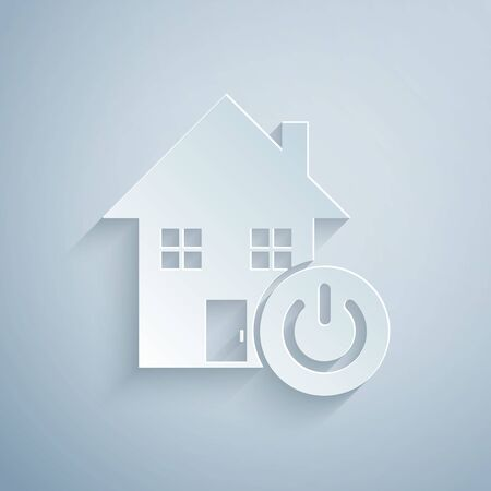 Paper cut Smart home icon isolated on grey background. Remote control. Paper art style. Vector Illustration