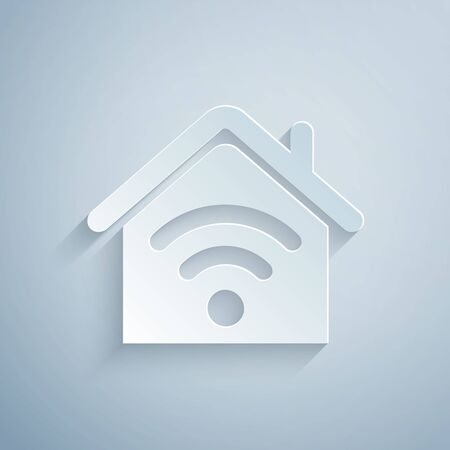 Paper cut Smart home with wifi icon isolated on grey background. Remote control. Paper art style. Vector Illustration