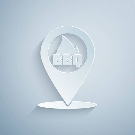 Paper cut Map pointer with barbecue icon isolated on grey background. Fire flame icon. Barbecue and BBQ grill symbol. Paper art style. Vector Illustration