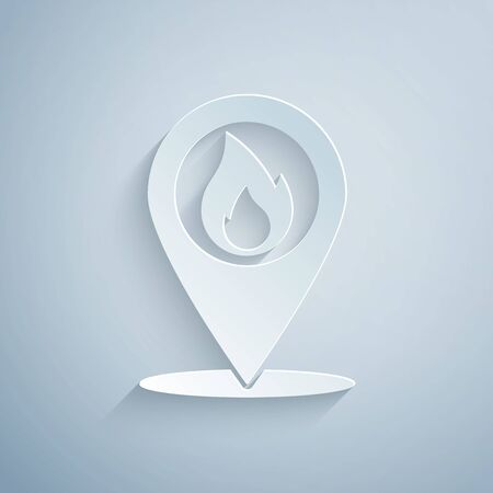 Paper cut Map pointer with fire flame icon isolated on grey background. Fire nearby. Paper art style. Vector Illustration