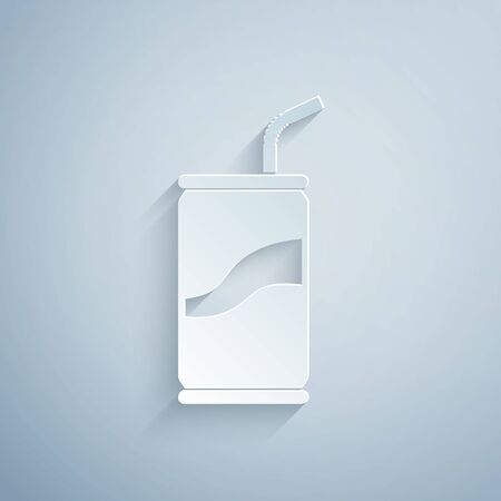 Paper cut Soda can with drinking straw icon isolated on grey background. Paper art style. Vector Illustration