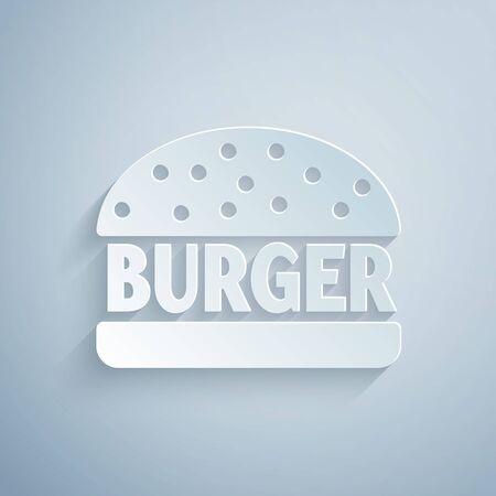 Paper cut Burger icon isolated on grey background. Hamburger icon. Cheeseburger sandwich sign. Paper art style. Vector Illustration Ilustração