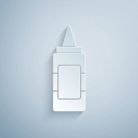 Paper cut Mustard bottle icon isolated on grey background. Paper art style. Vector Illustration