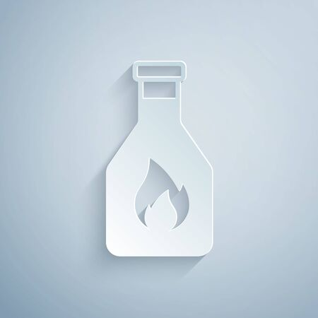 Paper cut Ketchup bottle icon isolated on grey background. Paper art style. Vector Illustration