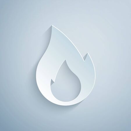 Paper cut Fire flame icon isolated on grey background. Heat symbol. Paper art style. Vector Illustration Иллюстрация