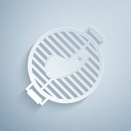 Paper cut Barbecue grill with steak icon isolated on grey background. BBQ grill party. Paper art style. Vector Illustration