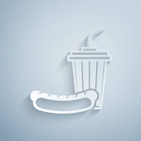 Paper cut Soda and hotdog icon isolated on grey background. Fast food symbol. Paper art style. Vector Illustration Ilustração