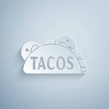 Paper cut Taco with tortilla icon isolated on grey background. Traditional mexican fast food. Paper art style. Vector Illustration