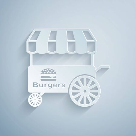 Paper cut Fast street food cart with awning icon isolated on grey background. Burger or hamburger icon. Urban kiosk. Paper art style. Vector Illustration Ilustração