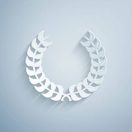 Paper cut Laurel wreath icon isolated on grey background. Triumph symbol. Paper art style. Vector Illustration Banque d'images - 130183831