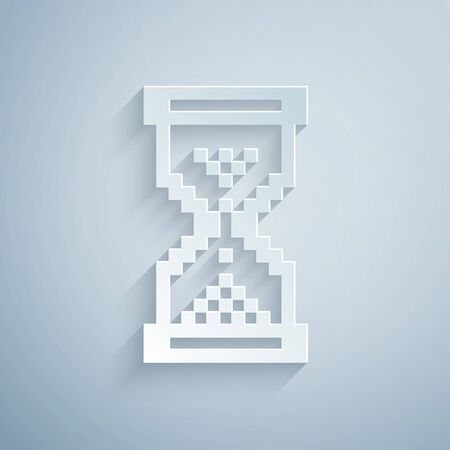 Paper cut Hourglass pixel with flowing sand icon isolated on grey background. Sand clock sign. Business and time management concept. Paper art style. Vector Illustration
