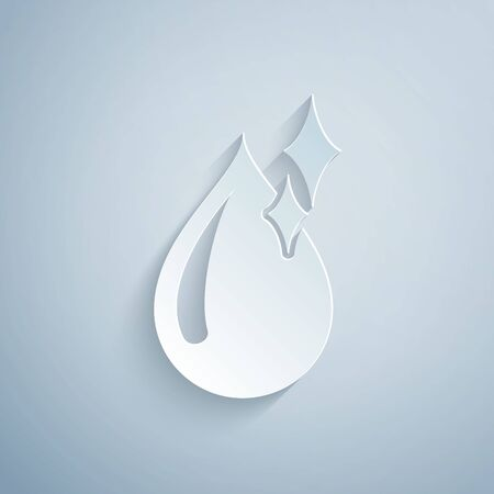 Paper cut Clean water drop icon isolated on grey background. Paper art style. Vector Illustration Illusztráció