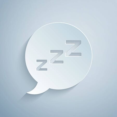 Paper cut Speech bubble with snoring icon isolated on grey background. Concept of sleeping, insomnia, alarm clock app, deep sleep, awakening. Paper art style. Vector Illustration
