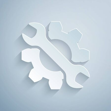Paper cut Wrench and gear icon isolated on grey background. Adjusting, service, setting, maintenance, repair, fixing. Paper art style. Vector Illustration Illustration