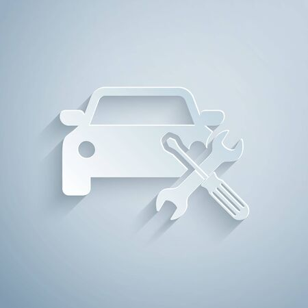 Paper cut Car with screwdriver and wrench icon isolated on grey background. Adjusting, service, setting, maintenance, repair, fixing. Paper art style. Vector Illustration Illustration